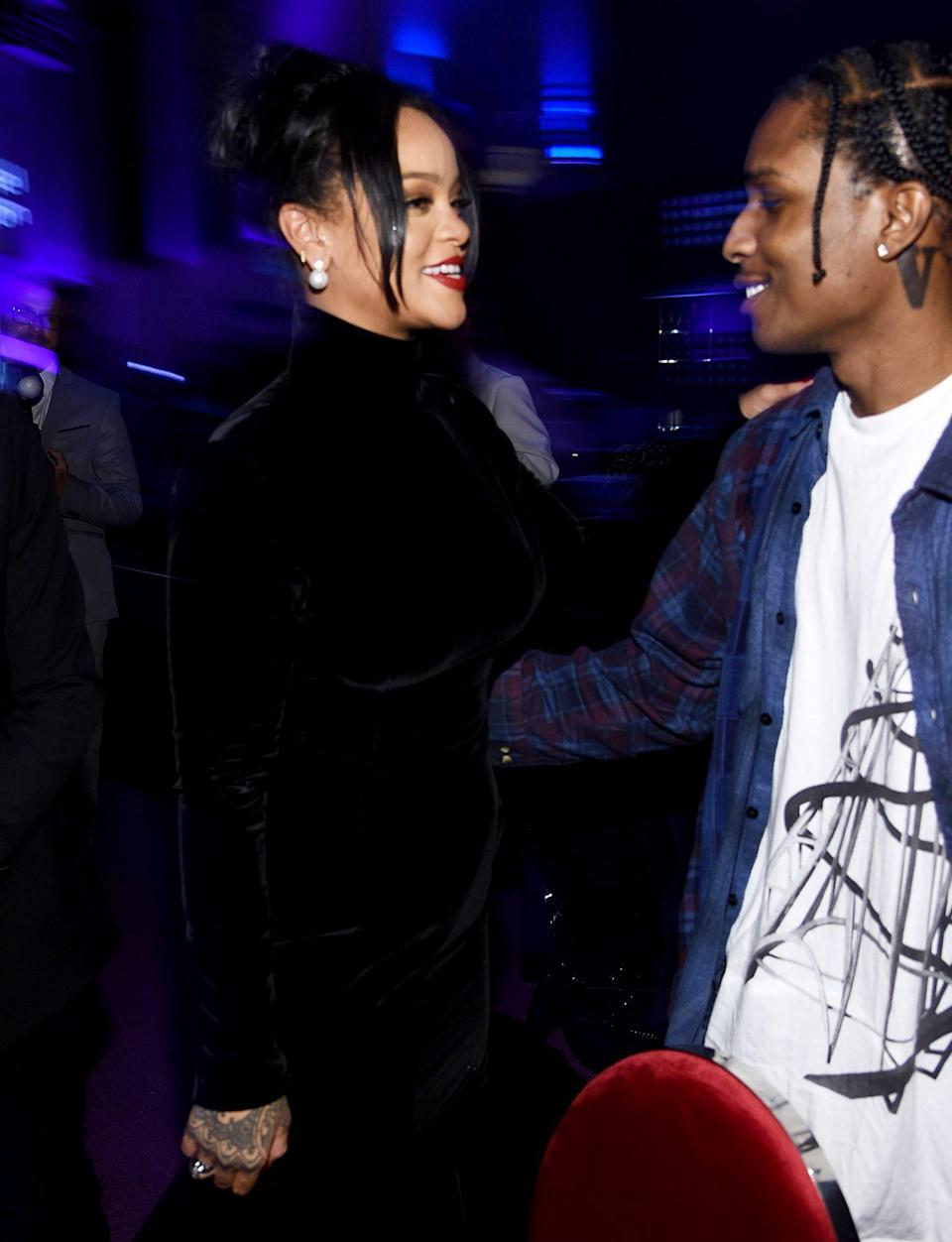<p>At RiRi's 5th Annual Diamond Ball in 2019, the then-rumored couple chatted animatedly, her in a sleek black gown and him in a streetwear-centric look.</p>