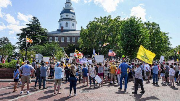 PHOTO: A group called 'Reopen Maryland' gather to protest the restrictions imposed by Maryland Governor Larry Hogan to combat the spread of the novel coronavirus. (Jonathan Newton/The Washington Post via Getty Images)