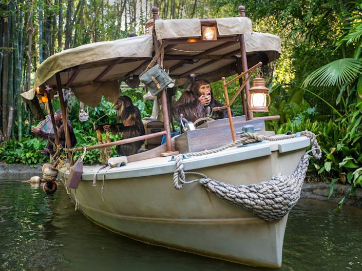 The photo shows an improved jungle cruise ride at Disneyland.