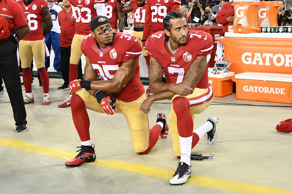 """The NFL was highly criticized for its handling of former San Francisco 49ers quarterback Colin Kaepernick and his 2016 """"take a knee"""" movement"""