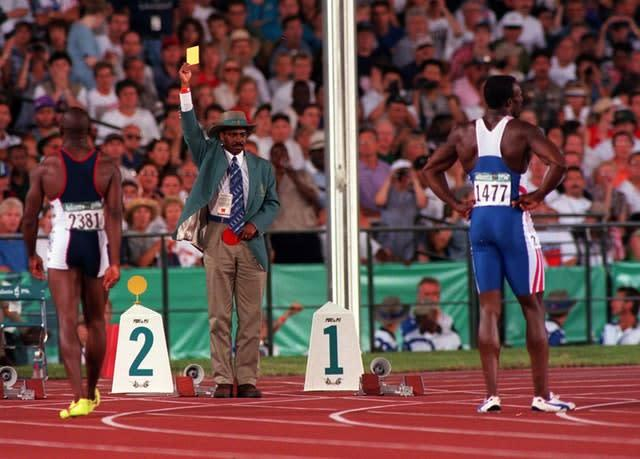 Linford Christie was disqualified for two false starts in the Olympic final. (Rebecca Naden/PA)