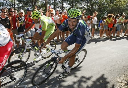 "Movistar Team rider Juan Jose Cobo of Spain cycles during the sixth stage of the Tour of Spain ""La Vuelta"" cycling race between Tarazona and Jaca"