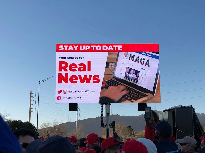 Trump'scampaign implored supporters to follow the president on Twitter, Instagram and Facebook. (Photo: Christopher Mathias / HuffPost)