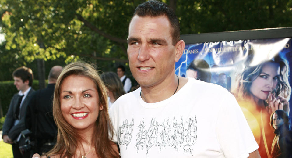 "Vinnie Jones, right, and his wife, Tanya, arrive at the premiere of ""Stardust"" in Los Angeles on Sunday, July 29, 2007. (AP Photo/Matt Sayles)"