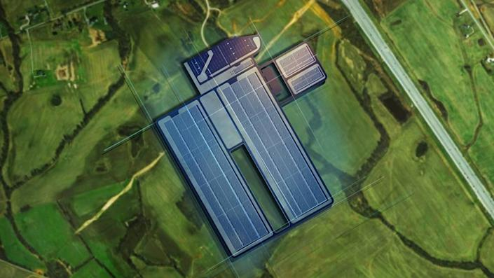 Ford Motor Corp. and SK Innovation announced Monday, Sept. 27, 2021, a $5.8 billion investment to build two electric battery manufacturing plants near Glendale, Ky. This is a depiction of the BlueOvalSK Battery Park.
