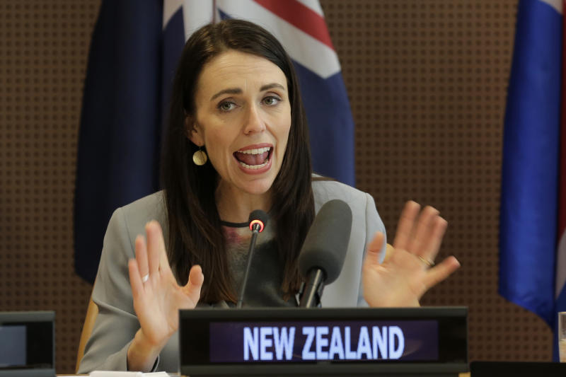 FILE - In this Sept. 25, 2019, file photo, New Zealand's Prime Minister Jacinda Ardern speaks at a press event at U.N. headquarters. Ardern said Tuesday, Jan. 28, 2020 that New Zealand's general election will be held on Sept. 19. (AP Photo/Seth Wenig, File)