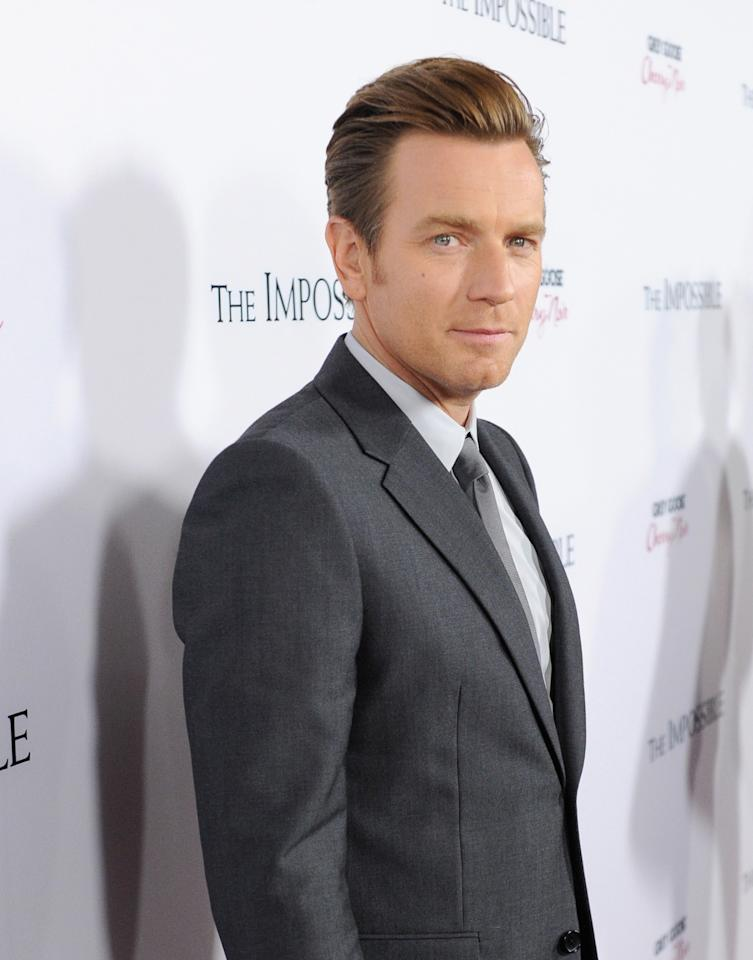 """HOLLYWOOD, CA - DECEMBER 10:  Actor Ewan McGregor attends the Los Angeles premiere of Summit Entertainment's """"The Impossible"""" at ArcLight Cinemas Cinerama Dome on December 10, 2012 in Hollywood, California.  (Photo by Jason Merritt/Getty Images)"""