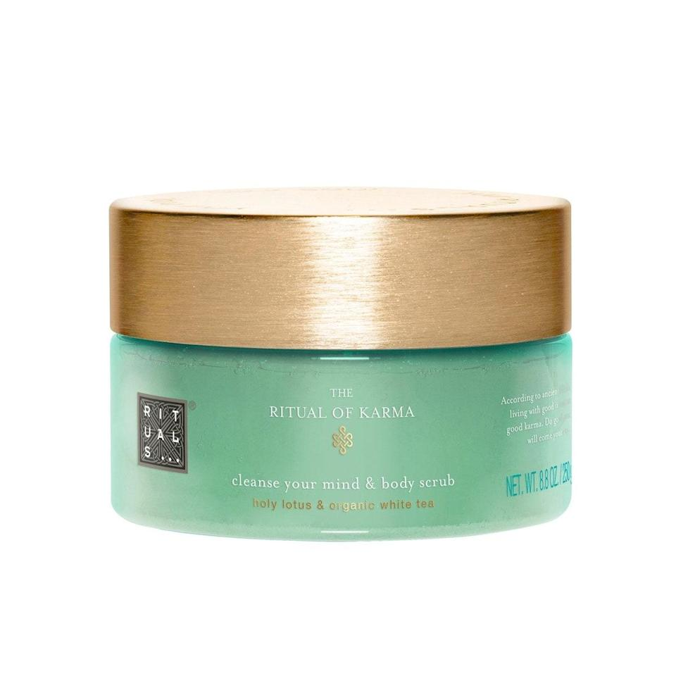 """A decadent sugar scrub is just what my dried-out, dull skin craves after a day of many layers and cold weather. Not only is the texture extremely gentle on my sensitive skin, but the powdery floral smell is incredibly soothing. —<em>T.G.</em> $17, Rituals. <a href=""""https://shop-links.co/1726743247184195889"""" rel=""""nofollow noopener"""" target=""""_blank"""" data-ylk=""""slk:Get it now!"""" class=""""link rapid-noclick-resp"""">Get it now!</a>"""