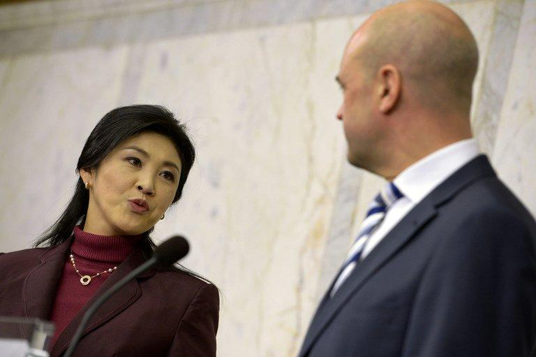 Thai PM Yingluck Shinawatra and her Swedish counterpart Fredrik Reinfeldt hold talks in Stockholm, on March 4, 2013