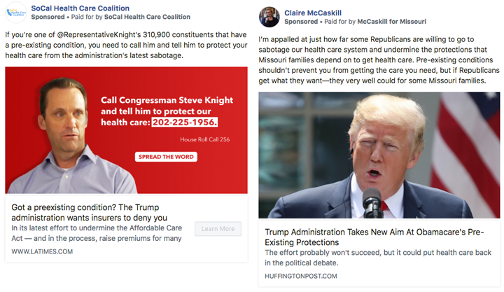 Candidates and political groups have started taking out ads attacking the Trump administration'sposition on protecting pre-existing conditions. (Facebook)