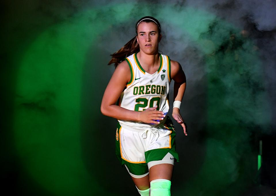 Sabrina Ionescu #20 of the Oregon Ducks is introduced before the championship game of the Pac-12 Conference women's basketball tournament against the Stanford Cardinal at the Mandalay Bay Events Center on March 8, 2020 in Las Vegas, Nevada. The Ducks defeated the Cardinal 89-56. (Photo by Ethan Miller/Getty Images)