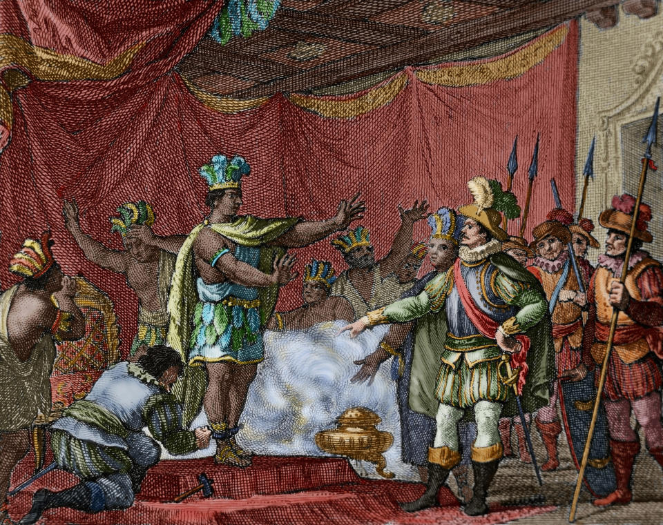 Second letter of Relation by Hernan Cortes (October 30, 1520). To punish the betrayal of Aztec hero Cuauhpopoca, Cortes took prisoner Moctezuma II. Engraving, 1807. Colored. (Photo by: PHAS/Universal Images Group via Getty Images)
