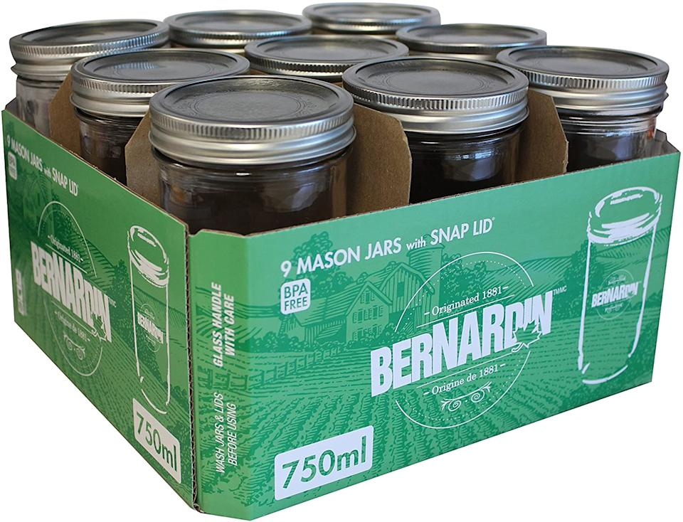 Bernardin 750ml Wide Mouth Jars, 9-Pack. Image via Amazon.