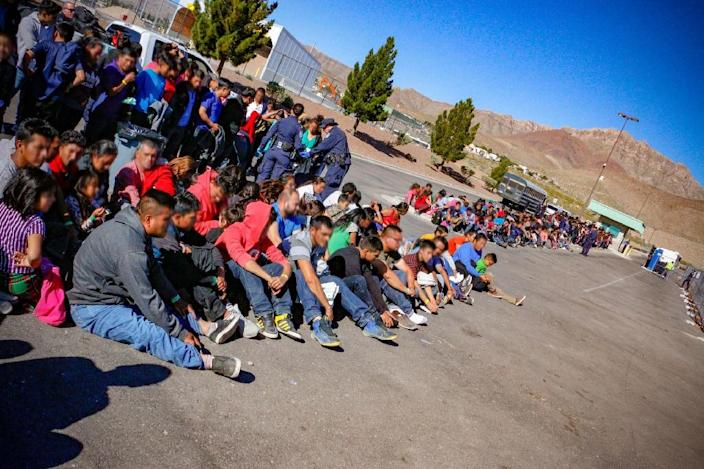Large groups of migrants from Central America have been crossing the border into the United States, including this group detained in El Paso, Texas in late May (AFP Photo/USBPA Edward Butron El Paso Sector)