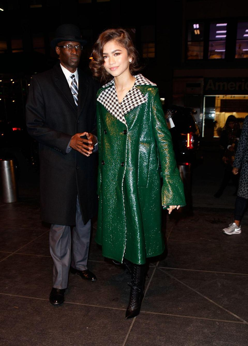 <p>Zendaya's coat is already a statement due to the gorgeous emerald hue but give it a decorative collar and you have a truly one-of-a-kind piece. Keep everything else super simple to really let the coat have its moment. </p>