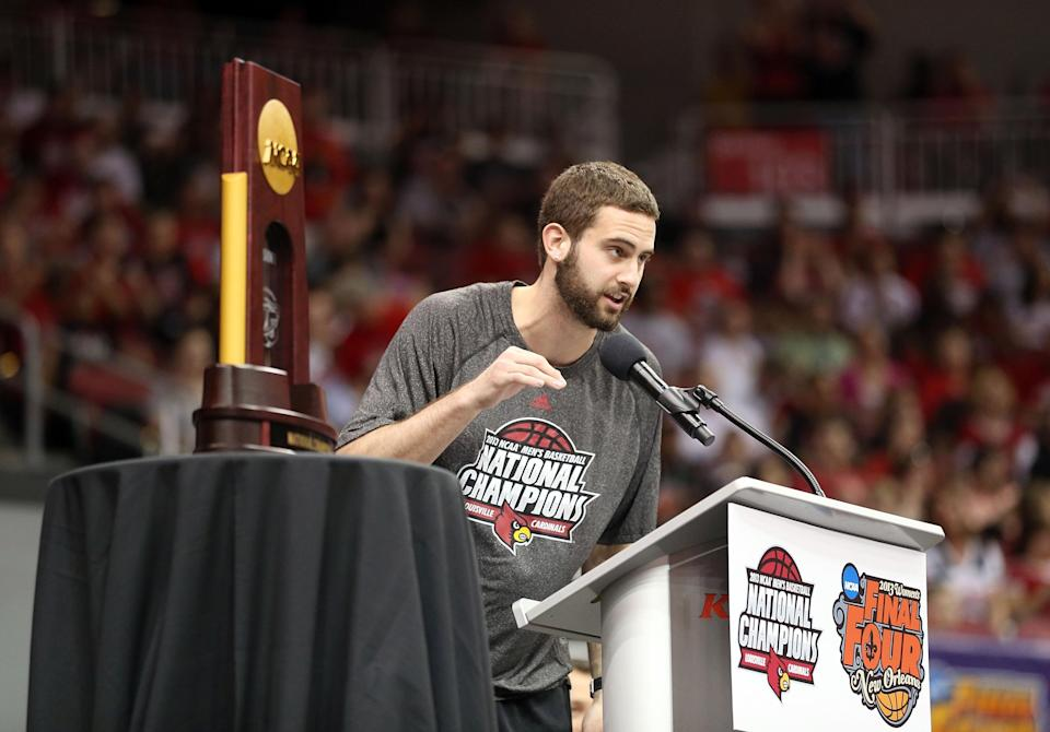 Luke Hancock is one of a handful of members of Louisville's 2013 national championship team who filed a lawsuit Wednesday against the NCAA. (Getty Images)