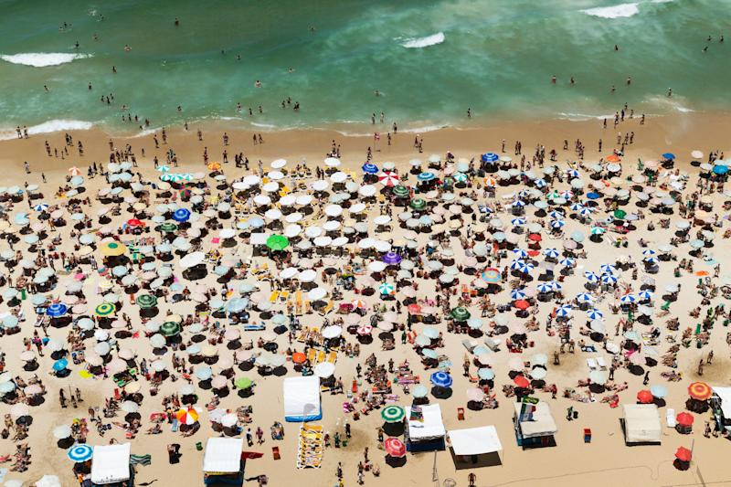 Aerial view of crowded beach of Ipanema, Rio De Janeiro, Brazil (Photo: Angelo Cavalli via Getty Images)