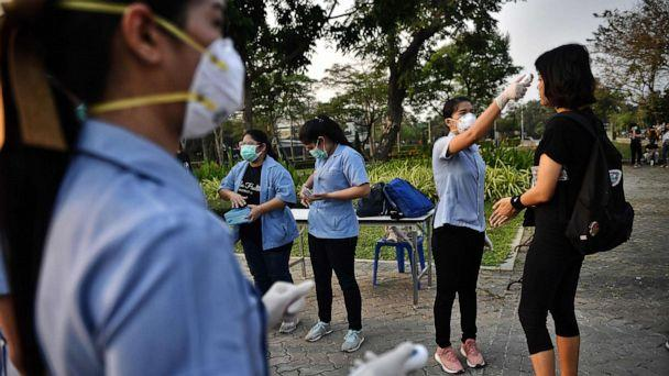 PHOTO: Students get their temperature tested for signs of the COVID-19 coronavirus at a pro-democracy rally against the military government at Thammasat University in Bangkok, Feb. 26, 2020. (Lillian Suwanrumpha/AFP via Getty Images)