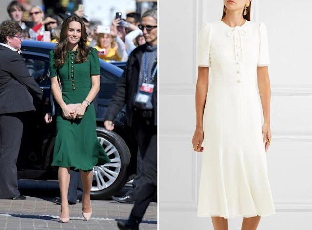 Dolce & Gabbana renamed its Cady midi dress after Kate Middleton wore it, left, and released it in white. (Photo: Getty Images/Net-a-Porter)
