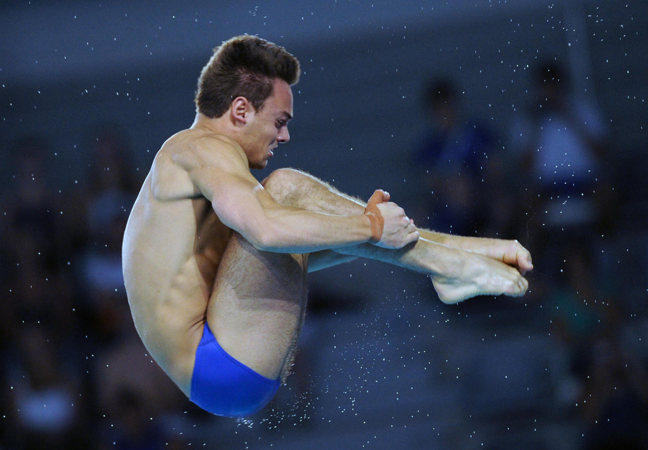 Britain's Tom Daley competes during the men's 10m platform diving preliminary of the  European Swimming Championships, on May 20, 2012 in Eindhoven. AFP PHOTO/JOHN THYSJOHN THYS/AFP/GettyImages