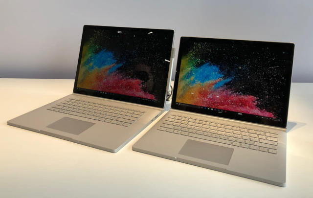 Microsoft's new high-powered Surface Book 2 comes in both 13.5-inch and 15-inch screen sizes.