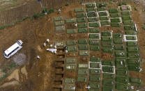 In an aerial view, workers bury a coffin containing the body of a COVID-19 victim at a cemetery reserved for those who died of complications related to coronavirus in Medan, North Sumatra, Indonesia, Sunday, May 2, 2021. (AP Photo/Binsar Bakkara)