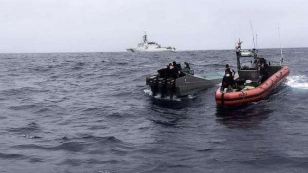 PHOTO: Coast Guard Cutter Bertholf (WMSL 750) boarding teams interdict a low-profile go-fast vessel while patrolling international waters of the Eastern Pacific Ocean, seizing more than 3,100 pounds of suspected cocaine, Nov. 4, 2019. (U.S. Coast Guard photo by Petty Officer 2nd Class Paul Krug)