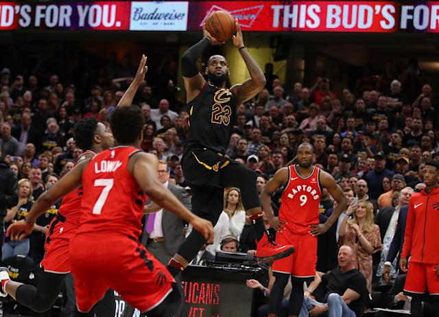 LeBron James rises for his game-winning shot Saturday night. (Getty)