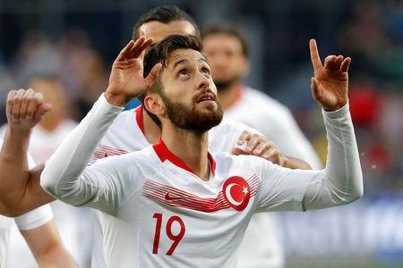 Soccer Football - International Friendly - Russia vs Turkey - VEB Arena, Moscow, Russia - June 5, 2018 Turkey's Yunus Malli celebrates scoring their first goal REUTERS/Sergei Karpukhin
