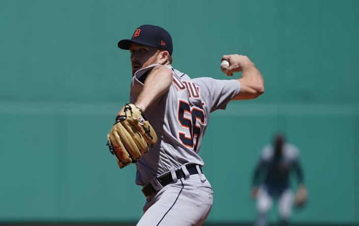 Detroit Tigers starting pitcher Spencer Turnbull (56) throws a pitch against the Boston Red Sox in the first inning May 6, 2021, at Fenway Park.