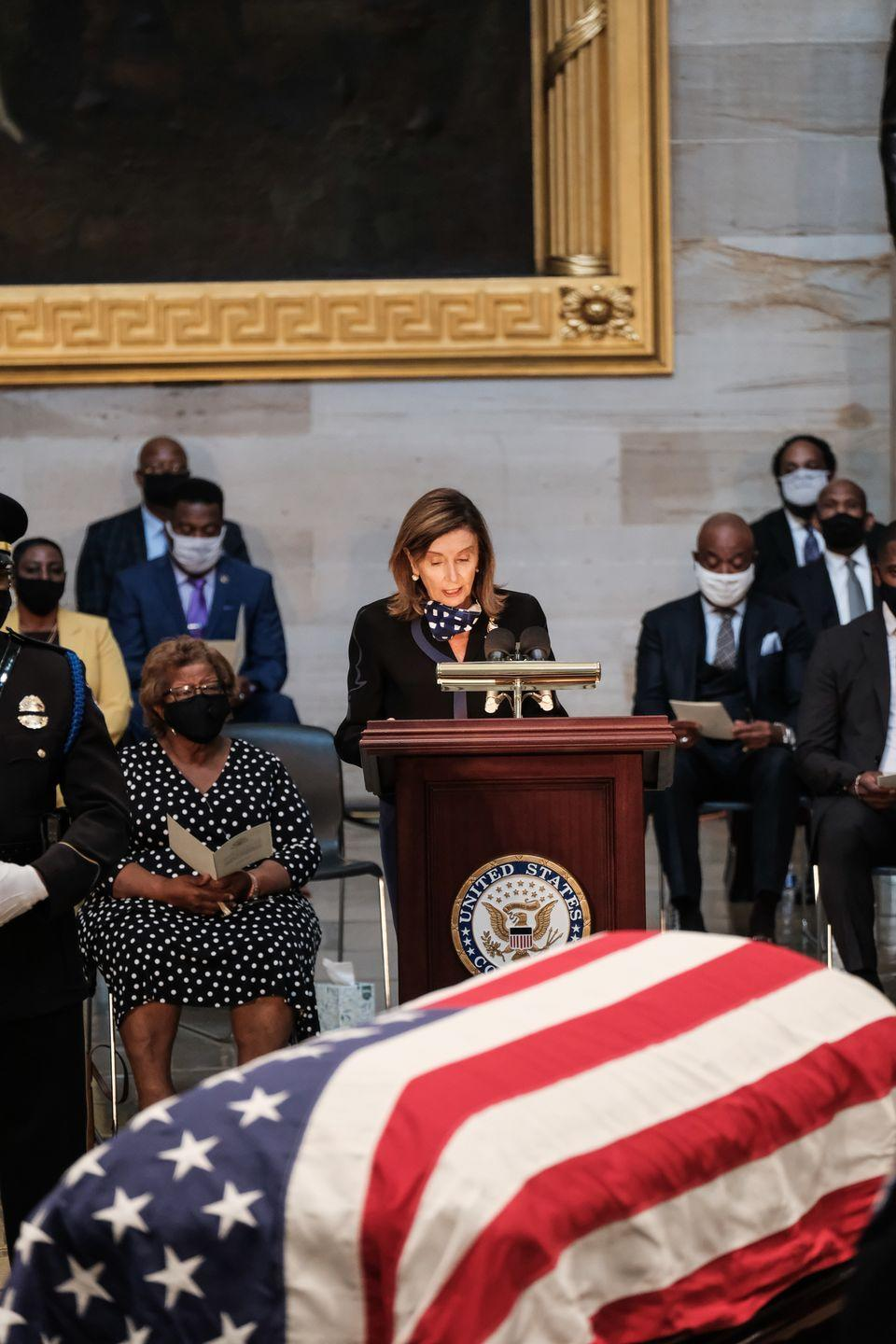 <p>U.S. Speaker of the House Rep. Nancy Pelosi (D-CA) pays her respects as the Rep. John Lewis (D-GA) lies in state at the U.S. Capitol Rotunda in Washington, D.C. on July 27, 2020</p>