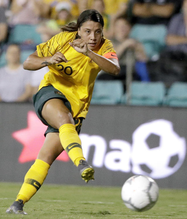 FILE - In this Feb. 28, 2019, file photo, Australia's Samantha Kerr plays against New Zealand during a Cup of Nations soccer match in Sydney, Australia. The Women's World Cup kicks off Friday, June 7, 2019, in Paris. This will be Kerr's third World Cup, and the Australians hope to improve on their surprising run to the quarterfinals in the 2015 tournament. (AP Photo/Rick Rycroft, File)