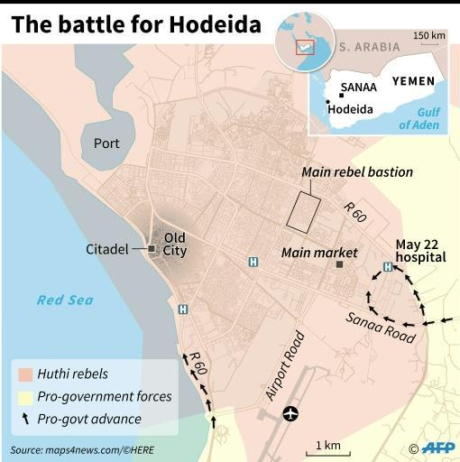 Map of Hodeida locating positions of fighting forces and major landmarks