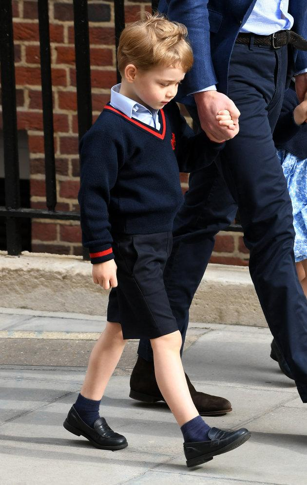 Prince George enters the Lindo Wing at St Mary's Hospital in Paddington, London.