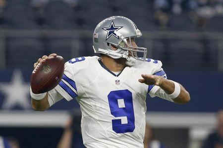 Aug 19, 2016; Arlington, TX, USA; Dallas Cowboys quarterback Tony Romo (9) throws a pass in the first quarter against the Miami Dolphins at AT&T Stadium. Mandatory Credit: Tim Heitman-USA TODAY Sports