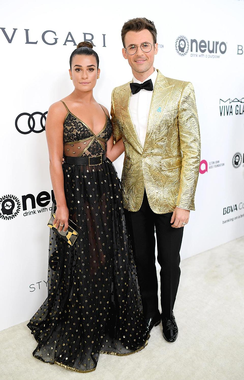 <p>Lea Michele and Brad Goreski attend the 25th Annual Elton John AIDS Foundation's Academy Awards Viewing Party at The City of West Hollywood Park on February 26, 2017 in West Hollywood, California. (Photo by Dimitrios Kambouris/Getty Images for EJAF) </p>