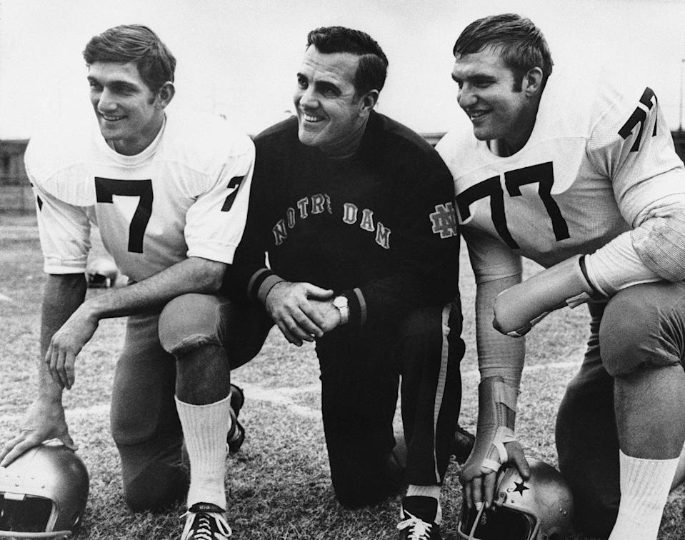 Ara Parseghian, center, won two national titles at Notre Dame and never finished outside the top 15 in the polls. He died Wednesday at 94. (AP)