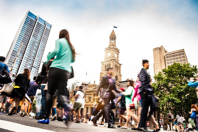 Pictured: Busy Sydney street. Image: Getty