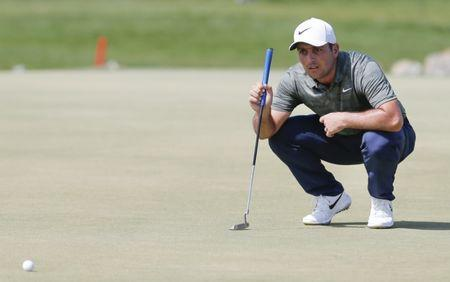 Mar 10, 2019; Orlando, FL, USA; Francesco Molinari lines up a putt on the 13 green during the final round of the Arnold Palmer Invitational golf tournament at Bay Hill Club & Lodge. Mandatory Credit: Reinhold Matay-USA TODAY Sports
