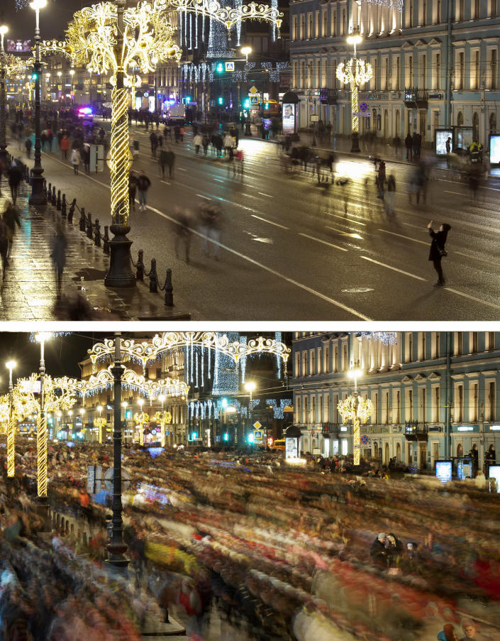 This combo of images shows at top, a few people walking along Nevsky prospect, central avenue, during New Year celebration in downtown St. Petersburg, Russia, Friday, Jan. 1, 2021, and below, a file photo of the same location packed with people on Wednesday, Jan. 1, 2020. As the world says goodbye to 2020, there will be countdowns and live performances, but no massed jubilant crowds in traditional gathering spots like the Champs Elysees in Paris and New York City's Times Square this New Year's Eve. The virus that ruined 2020 has led to cancelations of most fireworks displays and public events in favor of made-for-TV-only moments in party spots like London and Rio de Janeiro. (AP Photo/Dmitri Lovetsky)