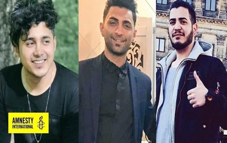 Iranians Amirhossein Moradi, 26, Saeed Tamjidi, 28, and Mohamad Rajabi, 26, are seen in file photos provided by Amnesty International. All three men were sentenced to death in February 2020 for taking part in anti-government protests in Iran in November the previous year. / Credit: Amnesty International