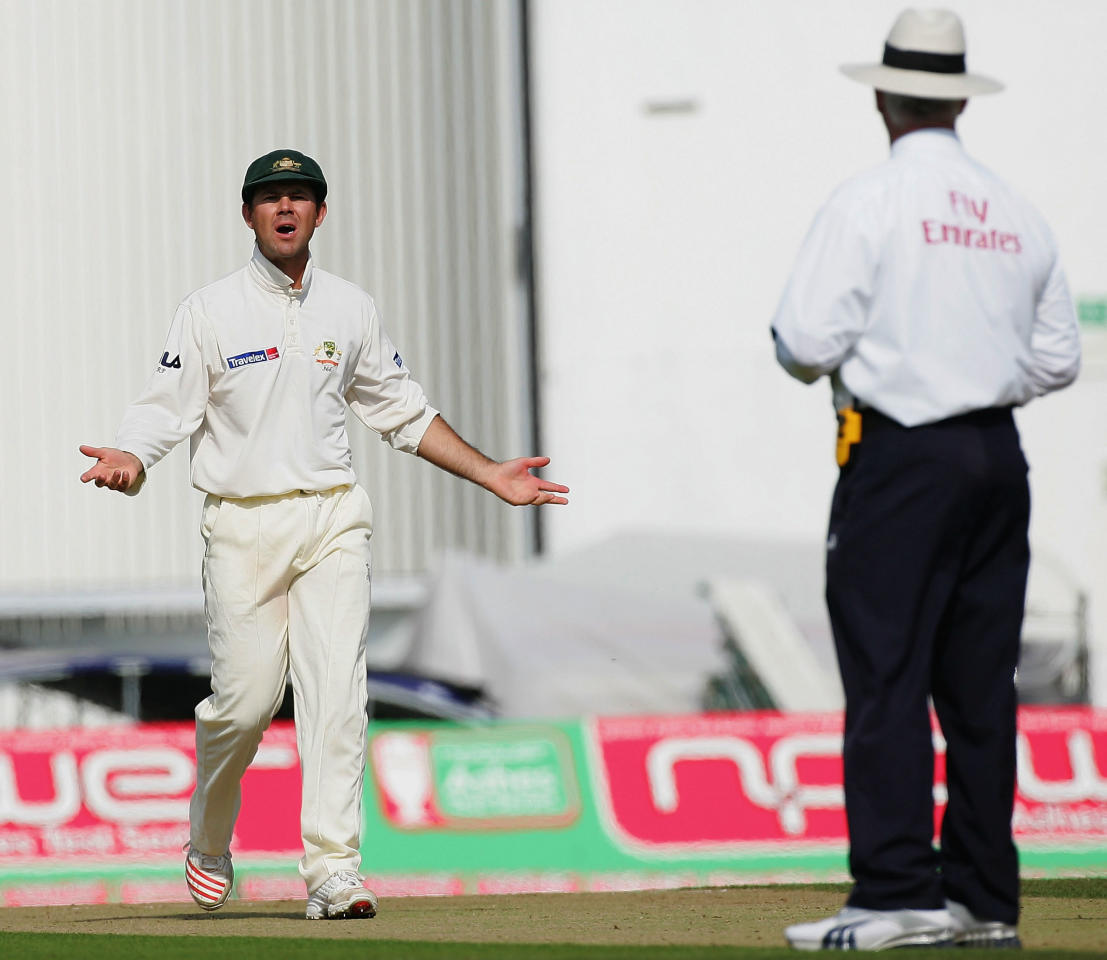 LONDON - SEPTEMBER 9:  Ricky Ponting of Australia protests to umpire Rudi Koertzen after an appeal for a catch behind against Ashley Giles of England was turned down during day two of the Fifth npower Ashes Test between England and Australia played at The Brit Oval on September 9, 2005 in London, United Kingdom  (Photo by Hamish Blair/Getty Images)