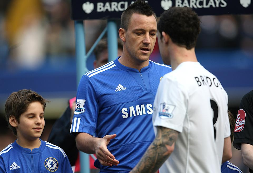 Chelsea's John Terry (centre) tries to shake hands with Manchester City's Wayne Bridge, prior to kick off   (Photo by Adam Davy - PA Images via Getty Images)