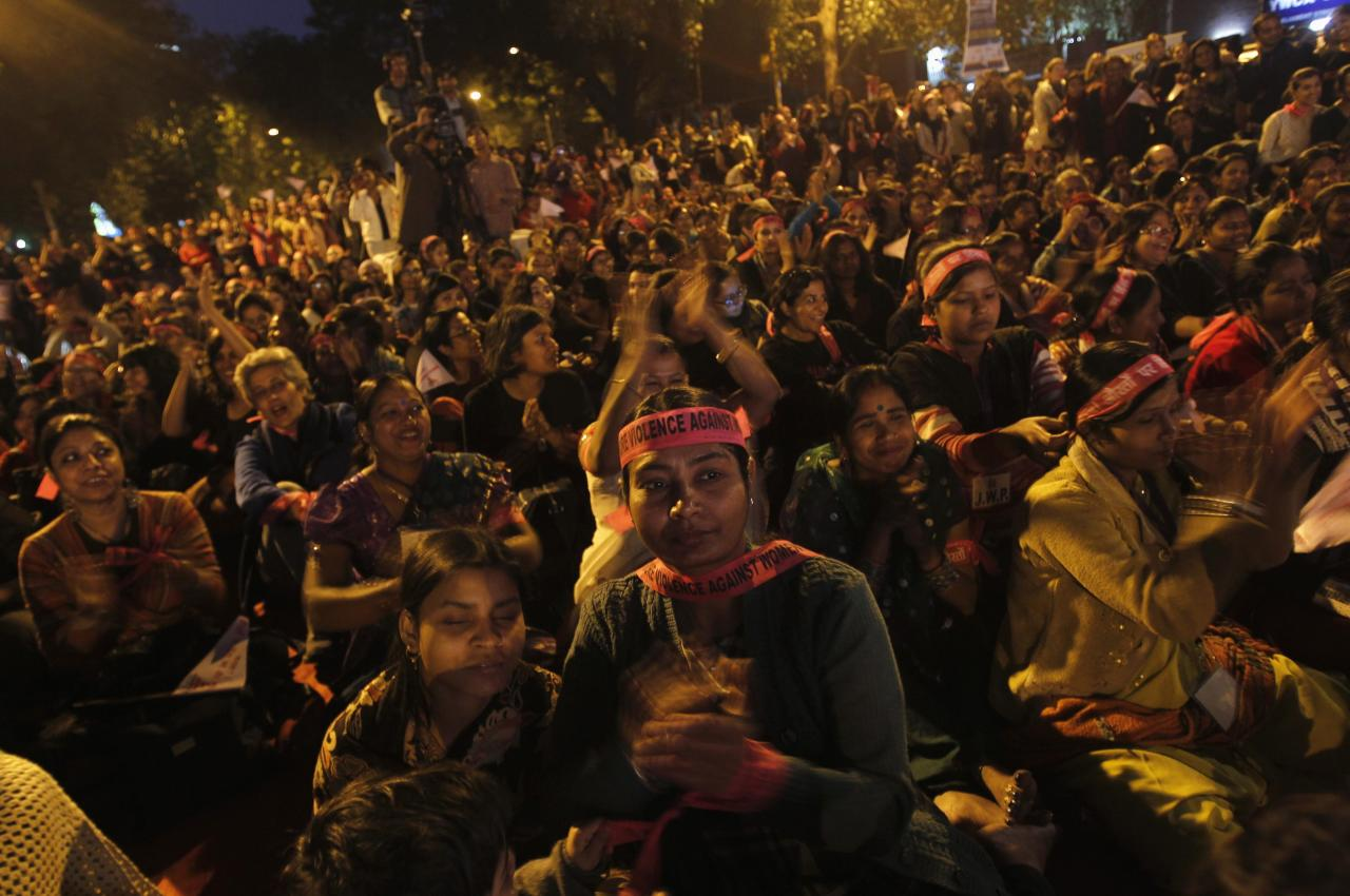 <p>People participate in a rally in New Delhi. The city was rocked when a woman suffered a brutal gang-rape on a bus in December 2012, throwing the conversation of women's rights at the forefront of the political agenda (Reuters)</p>
