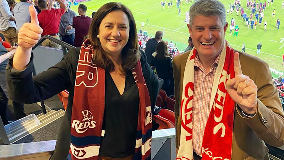 Annastacia Palaszczuk, pictured here at the Super Rugby final.