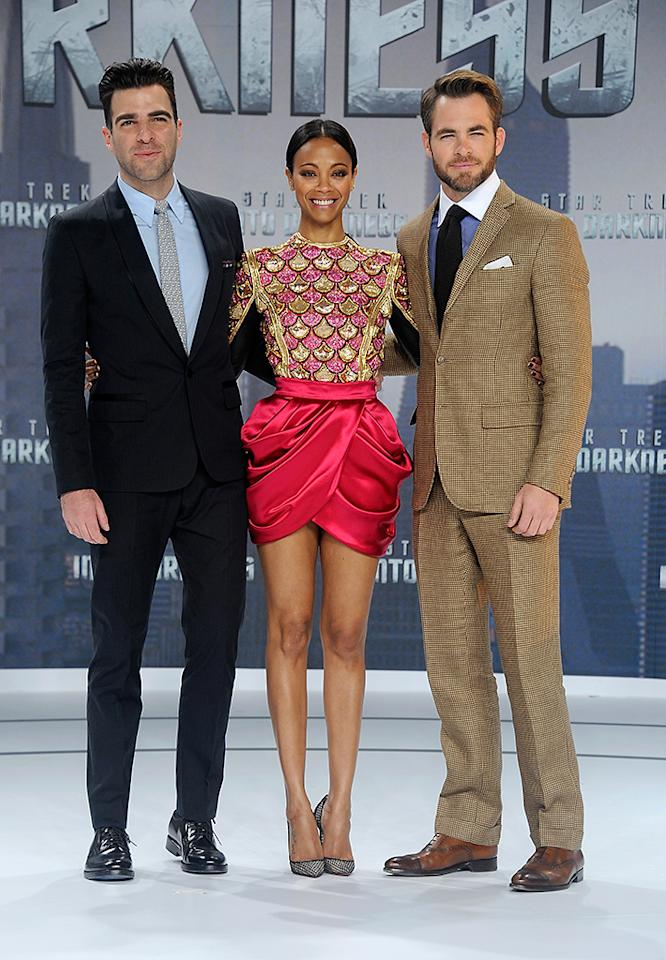 BERLIN, GERMANY - APRIL 29:  Zachary Quinto, Zoe Sladana and Chris Pine attend the 'Star Trek Into Darkness' German Premiere at CineStar on April 29, 2013 in Berlin, Germany.  (Photo by Luca Teuchmann/WireImage)