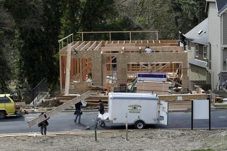 Homes are seen under construction in the northwest area of Portland