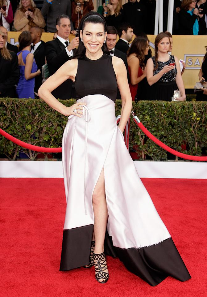 Julianna Margulies arrives at the 19th Annual Screen Actors Guild Awards at the Shrine Auditorium in Los Angeles, CA on January 27, 2013.