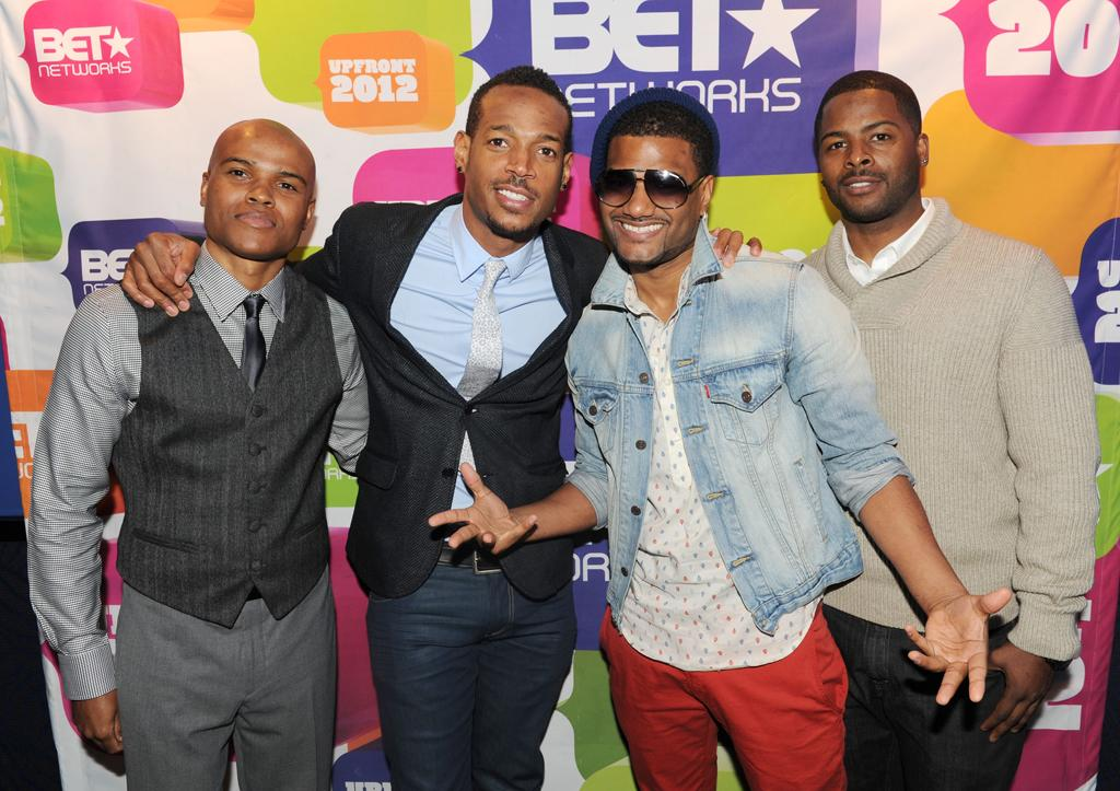"""George Gore, Marlon Wayans, Damian Wayans, and Craig Wayans (""""Second Generation Wayans"""") attend BET's 2012 Upfront event at the Best Buy Theater on April 18, 2012 in New York City."""