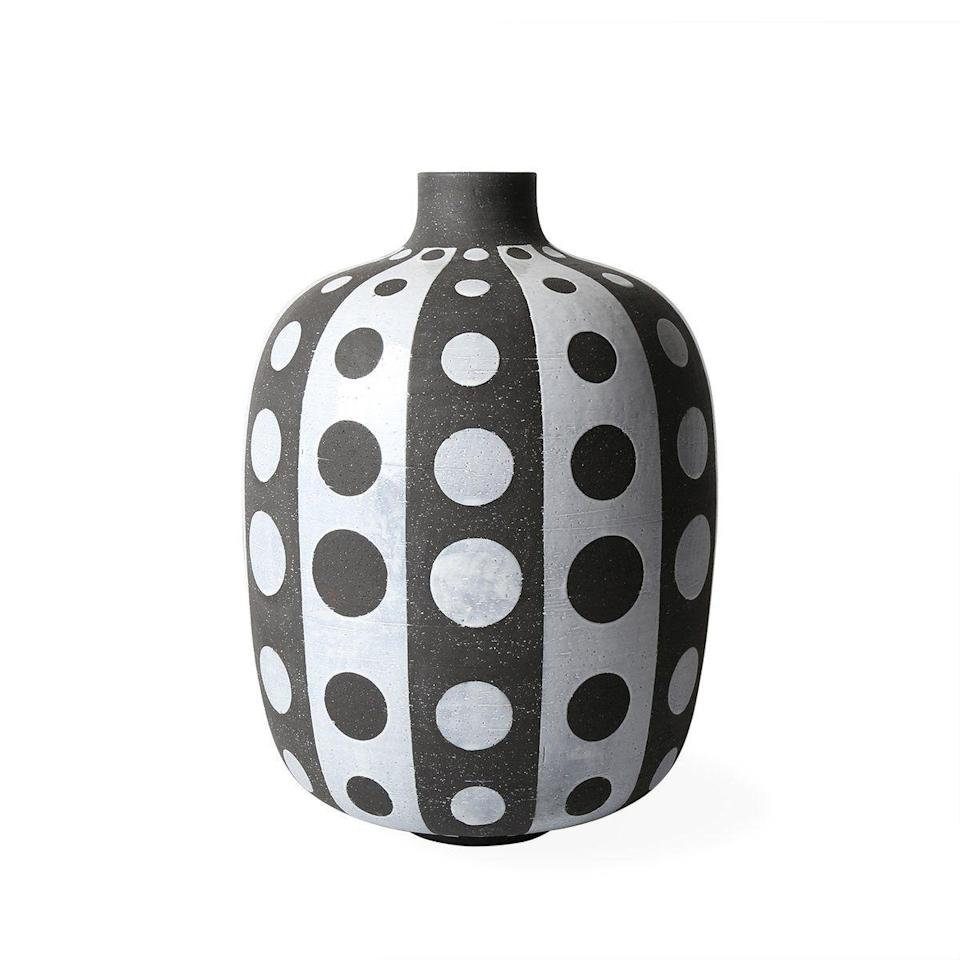 "<p><strong>adler</strong></p><p>jonathanadler.com</p><p><strong>$1395.00</strong></p><p><a href=""https://go.redirectingat.com?id=74968X1596630&url=https%3A%2F%2Fjonathanadler.com%2Fproducts%2Fpalm-springs-giant-polka-dot-vase-3%3Fscid%3Dscplp29878%26sc_intid%3D29878%26gclid%3DCjwKCAjw07qDBhBxEiwA6pPbHlRyf8HGoBVr1w3PeHhqAmwEbDy5mXZq2N4hxpgB5coILab9PrKr-RoCqTkQAvD_BwE%26variant_id%3D31498442047522&sref=https%3A%2F%2Fwww.elledecor.com%2Fshopping%2Fg36096525%2Fyayoi-kusama-shopping-guide%2F"" rel=""nofollow noopener"" target=""_blank"" data-ylk=""slk:Shop Now"" class=""link rapid-noclick-resp"">Shop Now</a></p><p>Add this eye-catching vase to any room for a pop of Kusama. </p>"